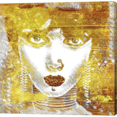 Metaverse Art Gold Girl Gallery Wrapped Canvas Wall Art