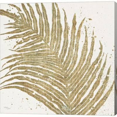 Metaverse Art Gold Leaves I Gallery Wrapped CanvasWall Art