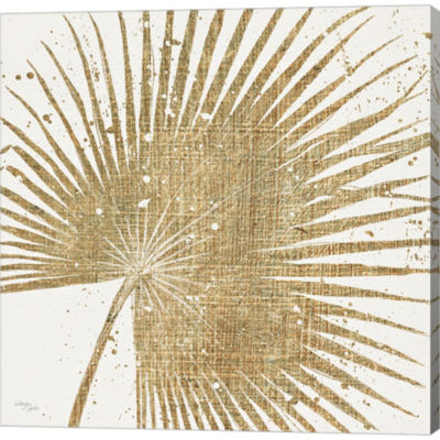 Metaverse Art Gold Leaves II Gallery Wrapped Canvas Wall Art