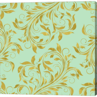 Golden Mint Damask I Gallery Wrapped Canvas Wall Art On Deep Stretch Bars