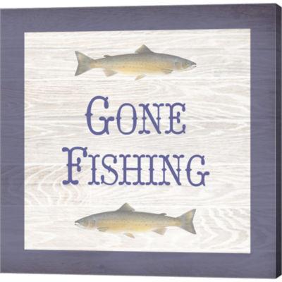 Metaverse Art Gone Fishing Salmon Gallery WrappedCanvas Wall Art