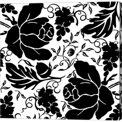 Metaverse Art Grapes And Buds Black And White Gallery Wrapped Canvas Wall Art