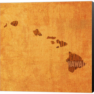 Metaverse Art Hawaii State Words Gallery Wrapped Canvas Wall Art