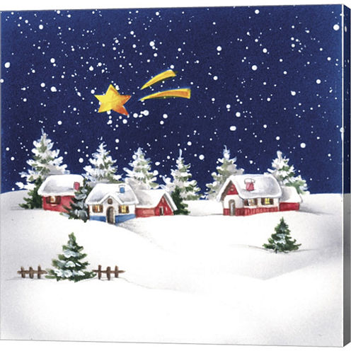 Holiday Star And Snow VIllage Gallery Wrapped Canvas Wall Art On Deep Stretch Bars