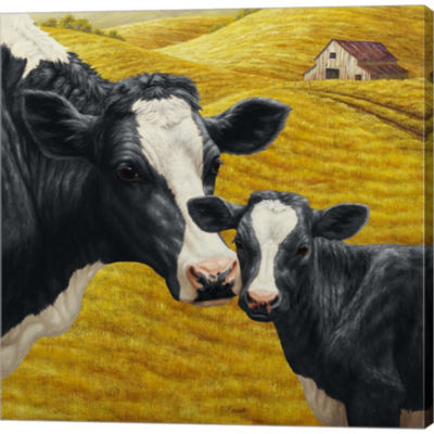 Metaverse Art Holstein Cow And Calf Gallery Wrapped Canvas Wall Art