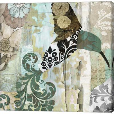 Metaverse Art Hummingbird Batik I Gallery WrappedCanvas Wall Art