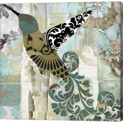 Metaverse Art Hummingbird Batik II Gallery WrappedCanvas Wall Art