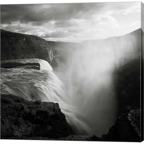 Iceland Gullfoss Gallery Wrapped Canvas Wall Art On Deep Stretch Bars