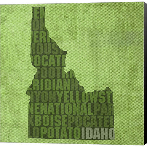 Idaho State Words Gallery Wrapped Canvas Wall ArtOn Deep Stretch Bars