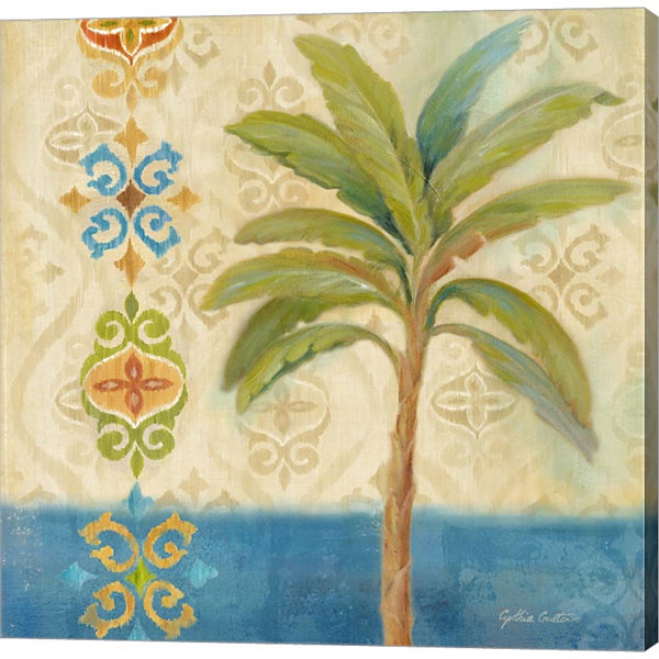 Metaverse Art Ikat Palm I Gallery Wrapped Canvas Wall Art