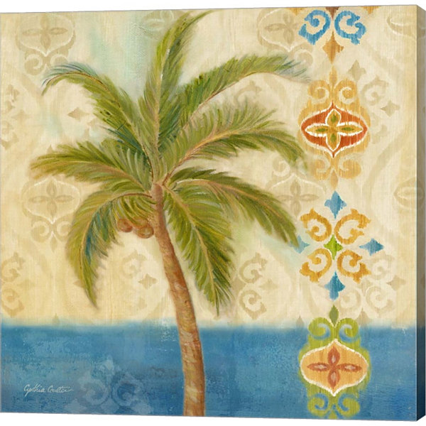 Metaverse Art Ikat Palm II Gallery Wrapped CanvasWall Art