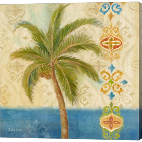 Ikat Palm II Gallery Wrapped Canvas Wall Art On Deep Stretch Bars