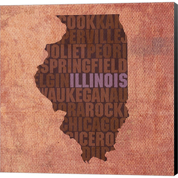 Metaverse Art Illinois State Words Gallery WrappedCanvas Wall Art