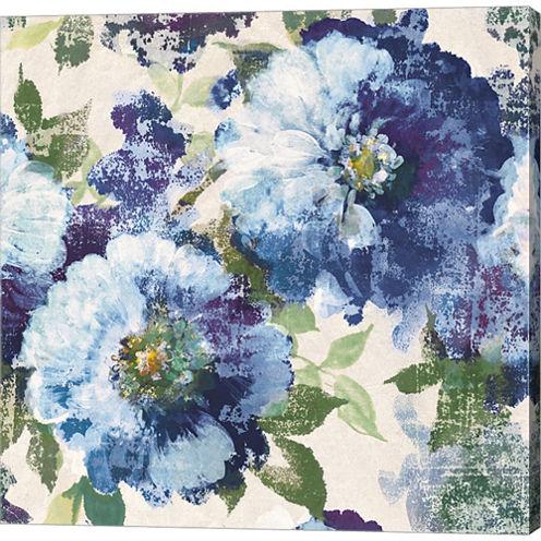 Indigo Floral Gallery Gallery Wrapped Canvas WallArt On Deep Stretch Bars