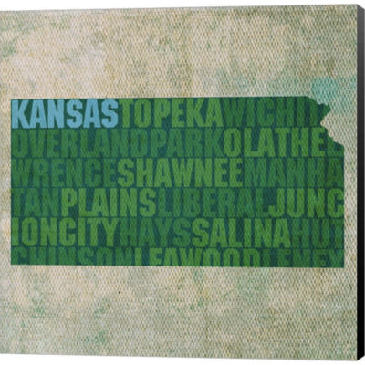 Kansas State Words Gallery Wrapped Canvas Wall ArtOn Deep Stretch Bars
