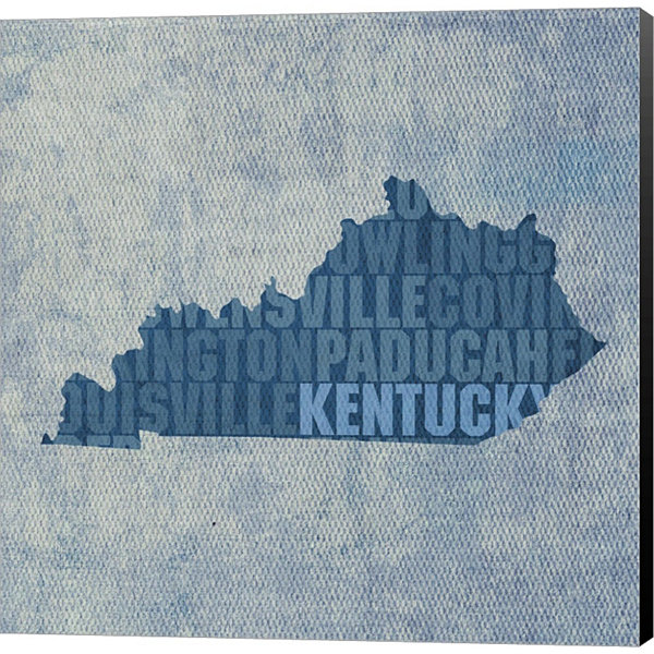 Metaverse Art Kentucky State Words Gallery WrappedCanvas Wall Art