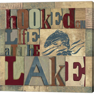 Metaverse Art Lake Living Printer Blocks I GalleryWrapped Canvas Wall Art