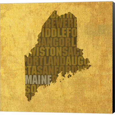 Metaverse Art Maine State Words Gallery Wrapped Canvas Wall Art