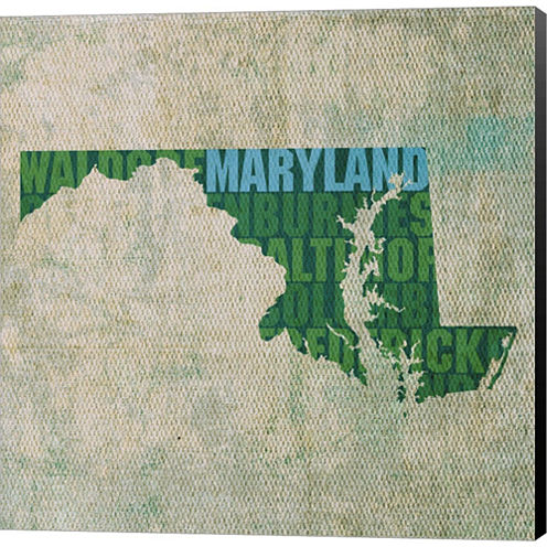 Maryland State Words Gallery Wrapped Canvas Wall Art On Deep Stretch Bars