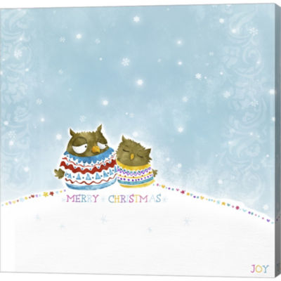Metaverse Art Merry Christmas Owl Couple Gallery Wrapped Canvas Wall Art