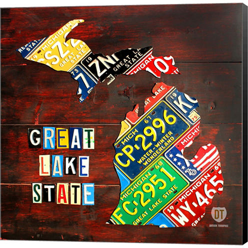 Michigan License Plate Map Large Gallery Wrapped Canvas Wall Art On Deep Stretch Bars