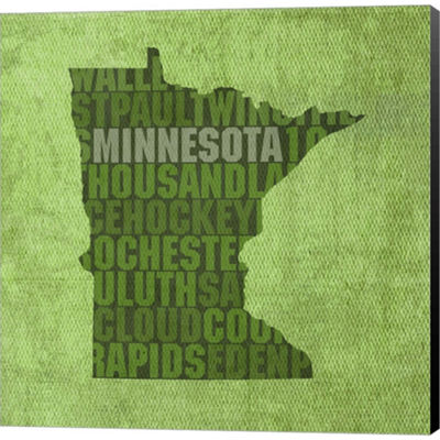 Metaverse Art Minnesota State Words Gallery Wrapped Canvas Wall Art