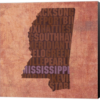 Metaverse Art Mississippi State Words Gallery Wrapped Canvas Wall Art