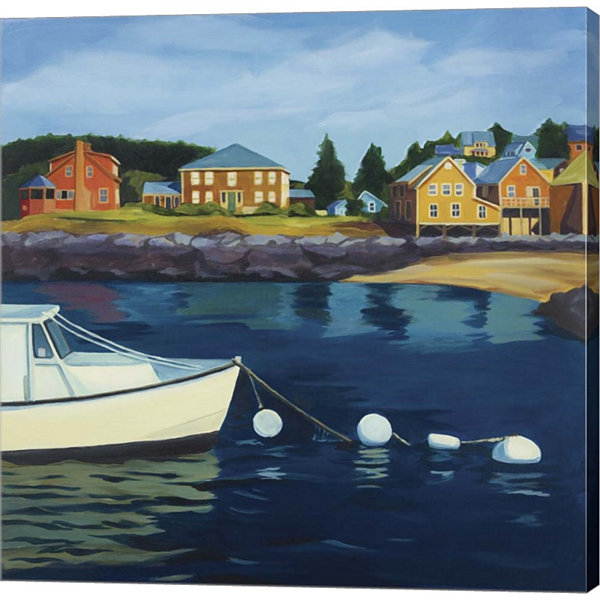 Metaverse Art Monhegan Harbor Gallery Wrapped Canvas Wall Art