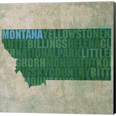 Montana State Words Gallery Wrapped Canvas Wall Art On Deep Stretch Bars