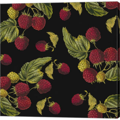 Metaverse Art Nature's Bounty -  Raspberries Gallery Wrapped Canvas Wall Art