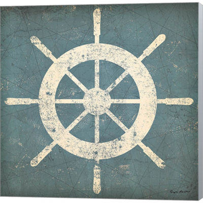 Metaverse Art Nautical Shipwheel Gallery Wrapped Canvas Wall Art