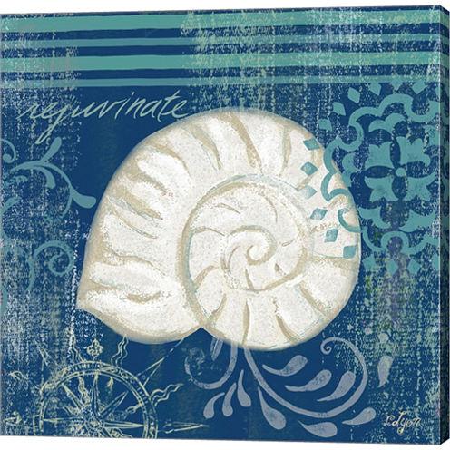 Navy Blue Spa Shells I Gallery Wrapped Canvas WallArt On Deep Stretch Bars