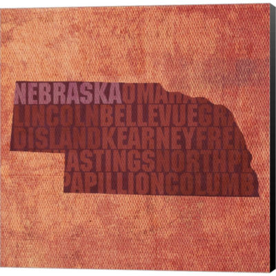 Metaverse Art Nebraska State Words Gallery WrappedCanvas Wall Art