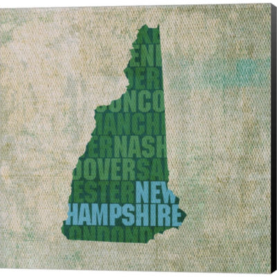 Metaverse Art New Hampshire State Words Gallery Wrapped Canvas Wall Art