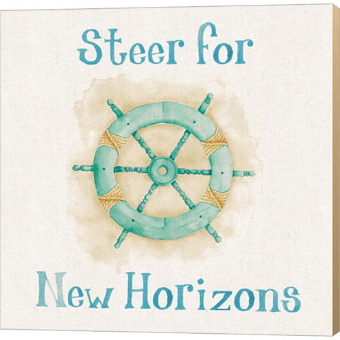New Horizons I Words Gallery Wrapped Canvas Wall Art On Deep Stretch Bars