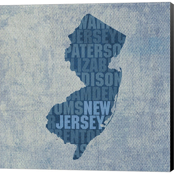Metaverse Art New Jersey State Words Gallery Wrapped Canvas Wall Art