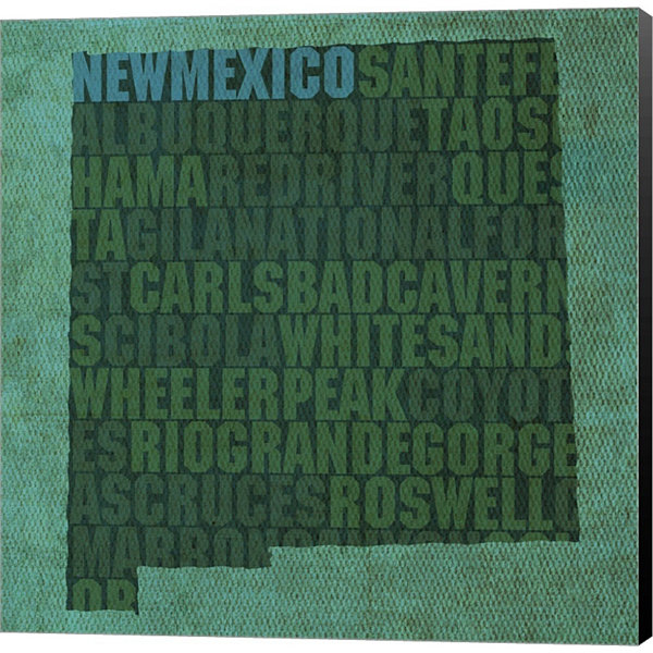 Metaverse Art New Mexico State Words Gallery Wrapped Canvas Wall Art