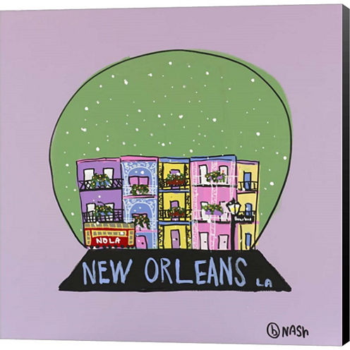 New Orleans Snow Globe Gallery Wrapped Canvas WallArt On Deep Stretch Bars