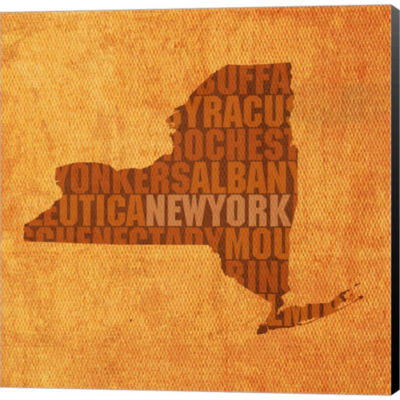 Metaverse Art New York State Words Gallery WrappedCanvas Wall Art