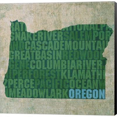 Metaverse Art Oregon State Words Gallery Wrapped Canvas Wall Art