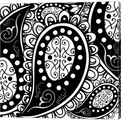 Paisley Party B/W Gallery Wrapped Canvas Wall ArtOn Deep Stretch Bars