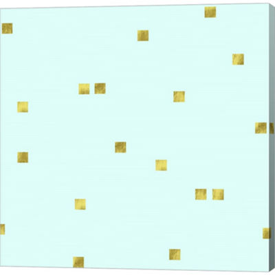 Metaverse Art Pale Aqua Golden Squares Confetti Gallery Wrapped Canvas Wall Art