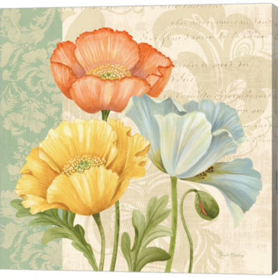 Pastel Poppies Multi I Gallery Wrapped Canvas WallArt On Deep Stretch Bars