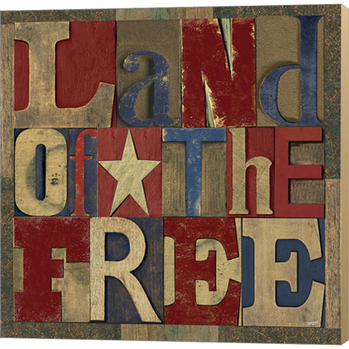 Patriotic Printer Block II Gallery Wrapped CanvasWall Art On Deep Stretch Bars