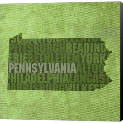 Pennsylvania State Words Gallery Wrapped Canvas Wall Art On Deep Stretch Bars