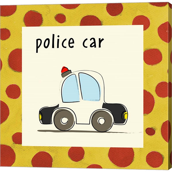 Metaverse Art Police Car With Border Gallery Wrapped Canvas Wall Art