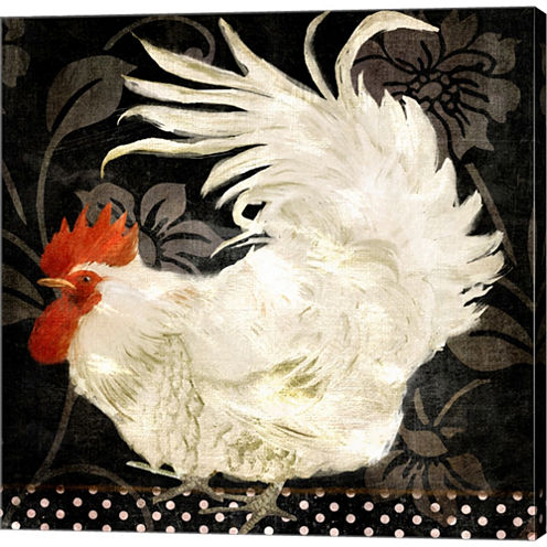 Rooster Damask I Gallery Wrapped Canvas Wall Art On Deep Stretch Bars