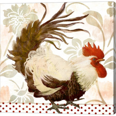 Metaverse Art Rooster Damask II Gallery Wrapped Canvas Wall Art