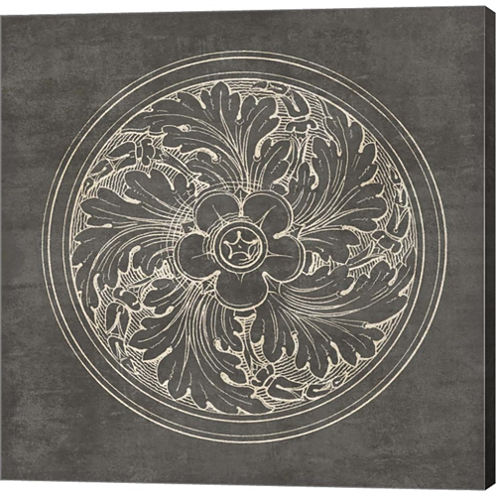 Rosette II Gray Gallery Wrapped Canvas Wall Art OnDeep Stretch Bars