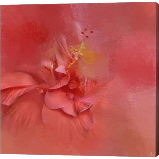 Metaverse Art Salmon Hibiscus 2 Gallery Wrapped Canvas Wall Art